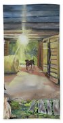 After Hours In Pa's Barn - Barn Lights - Labs Beach Towel