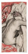 After The Bath Seated Woman Drying Herself Beach Towel