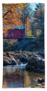Afternoon Autumn Sun On Vermont Covered Bridge Beach Towel