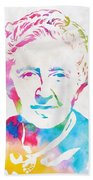 Agatha Christie Watercolor Tribute Beach Towel