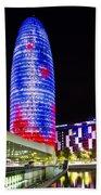 Agbar Tower In Barcelona Beach Towel