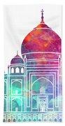 Agra Landmarks Watercolor Poster Beach Towel