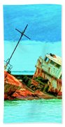 Aground Off Jamaica Beach Towel