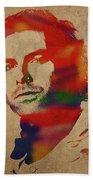 Aidan Turner As Poldark Watercolor Portrait Beach Sheet
