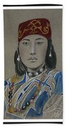 Ainu Woman -- Portrait Of Ethnic Asian Woman Beach Towel