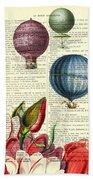 Hot Air Balloons Above Flower Field Beach Sheet