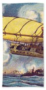 Air Battle, 1900s French Postcard Beach Towel