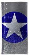 Air Force Logo On Riveted Steel Plane Fuselage Beach Towel