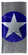 Air Force Logo On Riveted Steel Plane Fuselage Beach Sheet