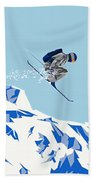 Airborn Skier Flying Down The Ski Slopes Beach Towel