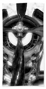 Airplane Propeller And Engine Navy Bw Beach Towel