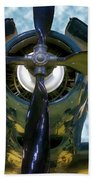 Airplane Propeller And Engine Navy Beach Towel