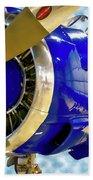 Airplane Propeller And Engine T28 Trojan 02 Beach Towel