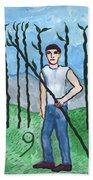 Airy Nine Of Wands Illustrated Beach Towel