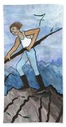 Airy Seven Of Wands Illustrated Beach Towel