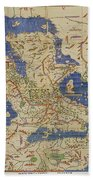 Al Idrisi World Map 1154 Beach Towel by SPL and Photo Researchers