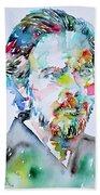 Alan Watts Watercolor Portrait Beach Towel
