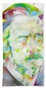 Alan Watts - Watercolor Portrait.3 Beach Towel