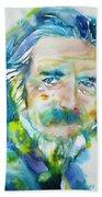 Alan Watts - Watercolor Portrait.4 Beach Towel