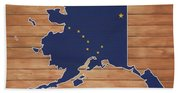 Alaska Map And Flag On Wood Beach Towel