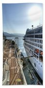 Alaskan Cruise Ship Berthed In Vancouver Beach Towel