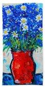 Albastrele Blue Flowers And Daisies Beach Towel by Ana Maria Edulescu