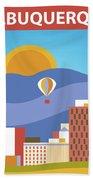 Albuquerque New Mexico Horizontal Skyline Beach Towel