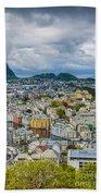 Alesund Norway Cityscape Beach Towel