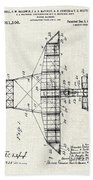 Alexander Graham Bell Airplane Patent Print, Plane Patent Blueprint Beach Towel