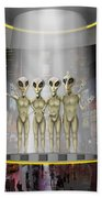 Alien Vacation - Beamed Up From Time Square Beach Towel