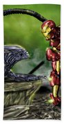Alien Vs Iron Man Beach Towel by Pete Tapang