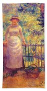 Aline At The Gate Girl In The Garden 1884 Beach Towel