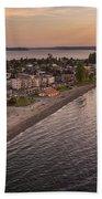 Alki Point Aerial Sunset Beach Towel
