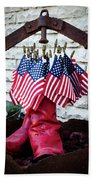 All American Flag And Red Boots - Painterly Beach Towel