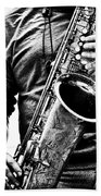 All Blues Man With Jazz On The Side Beach Towel by Bob Orsillo