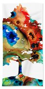All Seasons Tree 3 - Colorful Landscape Print Beach Towel