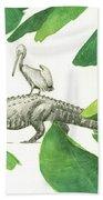 Alligator With Pelicans Beach Towel