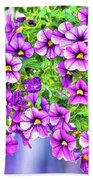 Aloha Purple Sky Calibrachoa Abstract II Beach Towel
