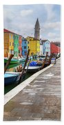 Along The Canal In Burano Island Beach Towel