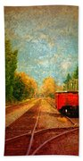 Along The Tracks Beach Towel