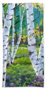 Alpine Flowers And Birches  Beach Towel