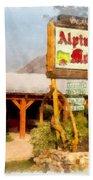 Alpine Motel Vintage Roadside Oasis Yellowstone Beach Towel