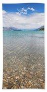 Alpine Scenery From Dart River Bed In Kinloch, New Zealand Beach Towel