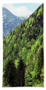 Alpine View In Green Beach Towel