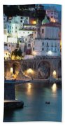 Amalfi Coast At Night Beach Towel