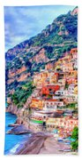 Amalfi Coast At Positano Beach Towel