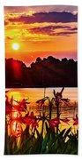 Amaryllis At Sunrise Over Lake Beach Towel