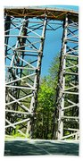 Amazing Kinsol Wooden Trestle Panorama View, Vancouver Island, Bc, Canada. Beach Towel