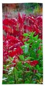 Amazing Nature Blessings Magic Colors Cherry Red Green Shrubs Plants Save  The Environment Beach Towel