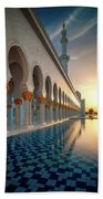 Amazing Sunset View At Mosque, Abu Dhabi, United Arab Emirates Beach Sheet